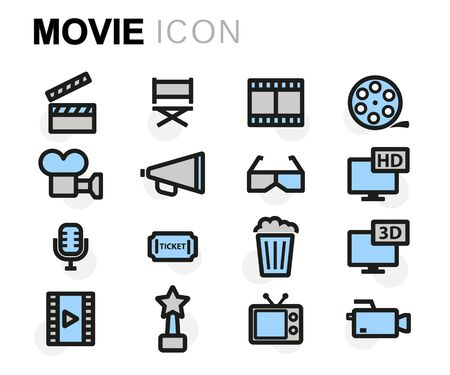 strip design: Vector flat movie icons set on white background