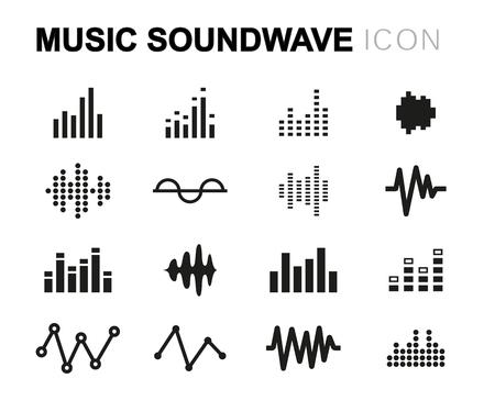 soundwave: Vector line music soundwave icons set on white background Illustration