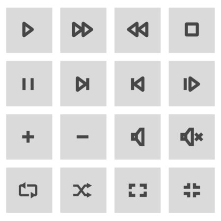 grey line: Vector line media player icons set on grey background