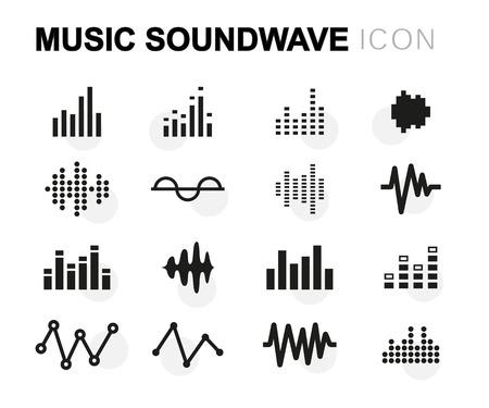 audio: Vector flat music soundwave icons set on white background