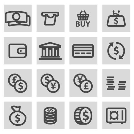 grey line: Vector line money icons set on grey background