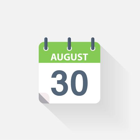 august: 30 august calendar icon on grey background