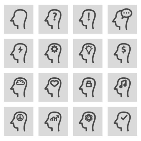 grey line: Vector line thoughts icons set on grey background Illustration