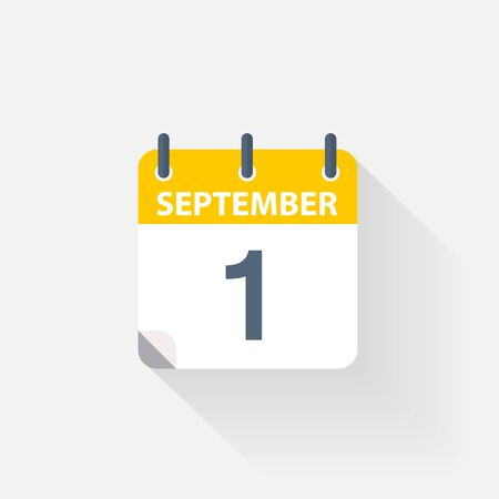 1 september calendar icon on grey background