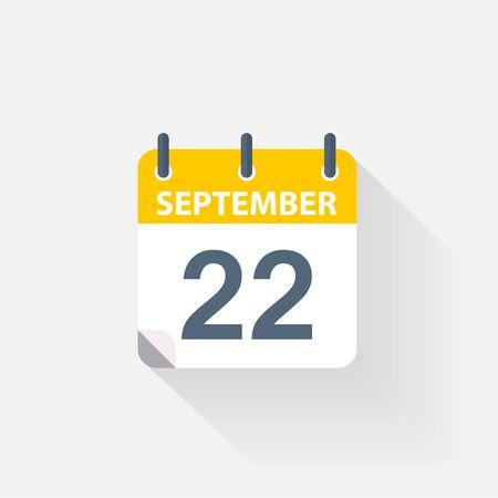 september calendar: 22 september calendar icon on grey background