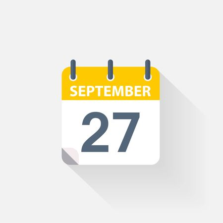 27 september calendar icon on grey background Illustration