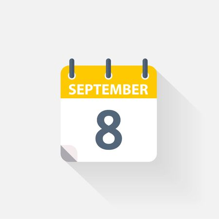 8 september calendar icon on grey background