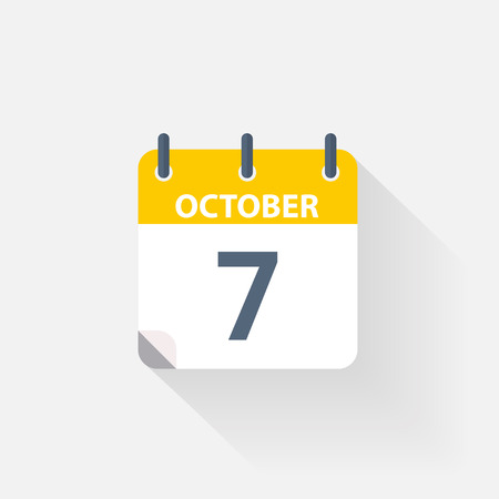 7 october calendar icon on grey background Illustration