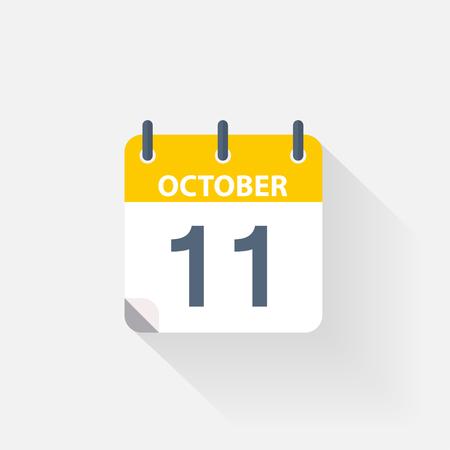 11 october calendar icon on grey background