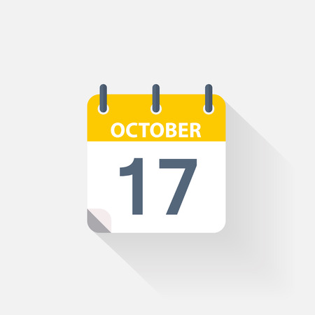 17: 17 october calendar icon on grey background Illustration