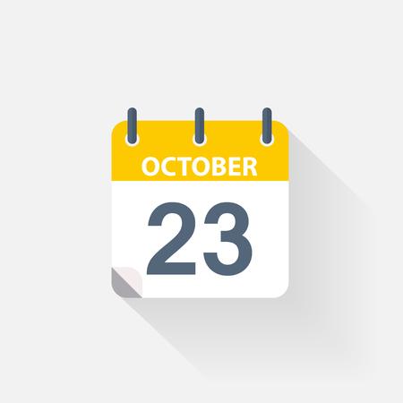 calendario octubre: 23 de octubre calendario icono sobre fondo gris Vectores