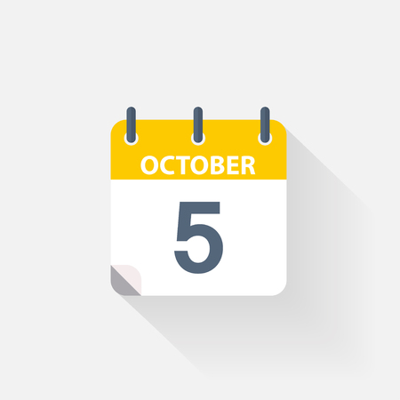 5 october calendar icon on grey background
