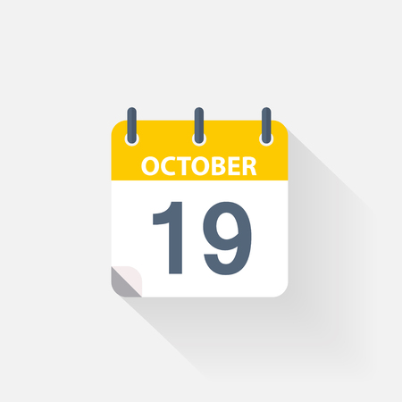 19 october calendar icon on grey background