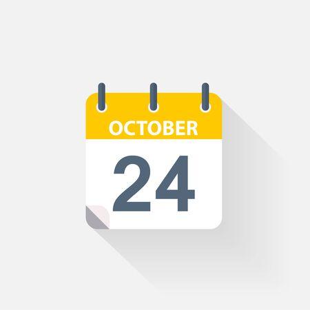 24 october calendar icon on grey background Stock Photo