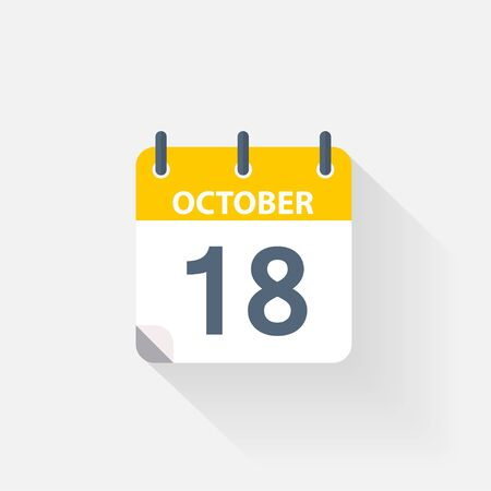 18 october calendar icon on grey background Stock Photo
