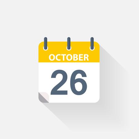 26 october calendar icon on grey background