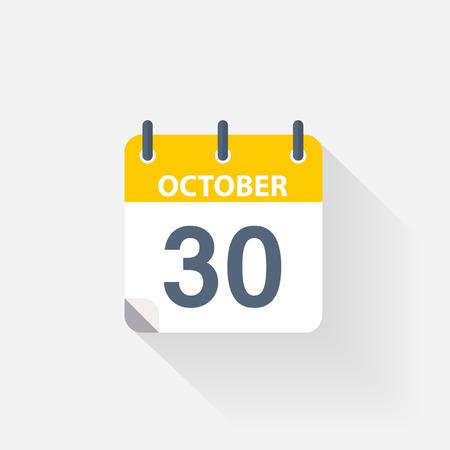 30 october calendar icon on grey background Illustration