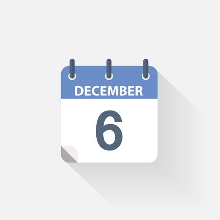 december background: 6 december calendar icon on grey background Stock Photo