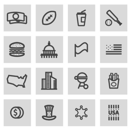 grey line: Vector line usa icons set on grey background