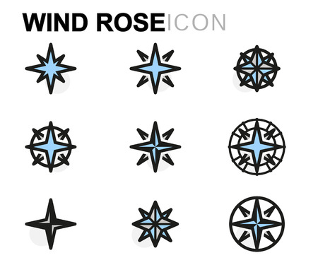 directions icon: Vector flat wind rose icons set on white background Illustration