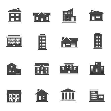 Black buildings icons set on white