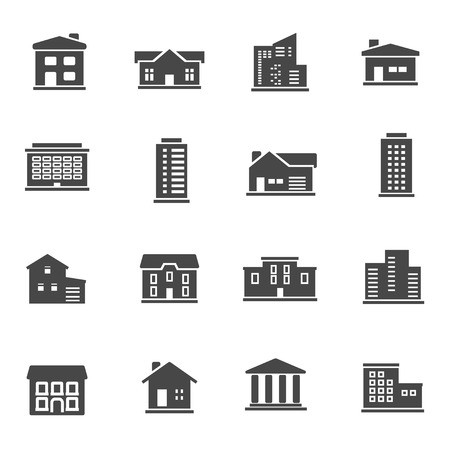 Black buildings icons set on white
