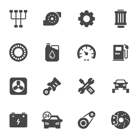 car: Vector black car service icons set on white background
