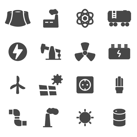 energetics: Vector black energetics icons set on white background Illustration