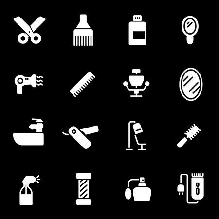 Vector white barber icons set on black background Illustration