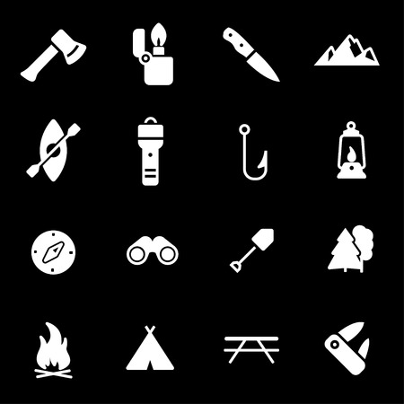 leisure activity: Vector white camping icons set on black background
