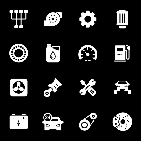 Vector white car service icons set on black background