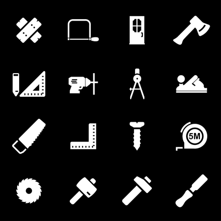 wood working: Vector white carpentry icons set on black background