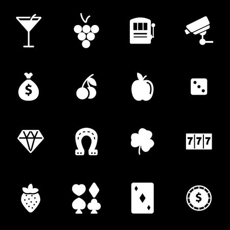 Vector white casino icons set on black background Illustration