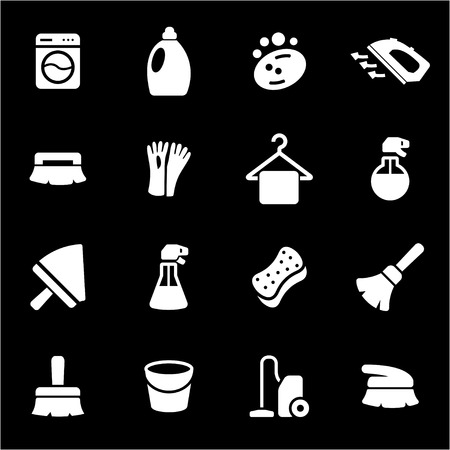Vector white cleaning icons set on black background