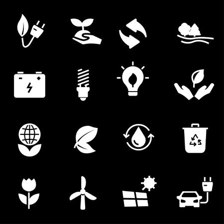 eco icons: Vector white eco icons set on black background Illustration