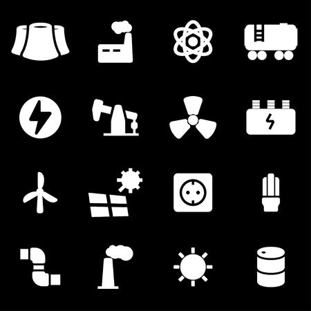 energetics: Vector white energetics icons set on black background