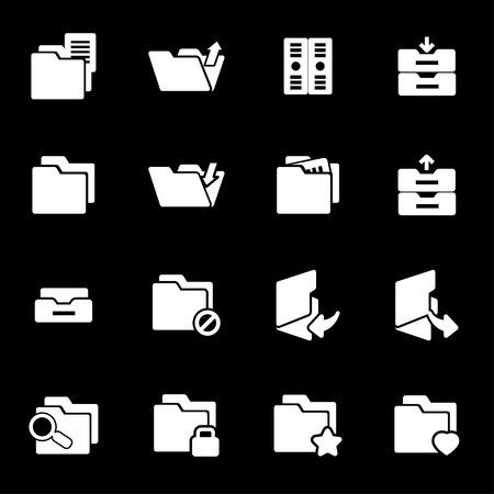Vector white folder icons set