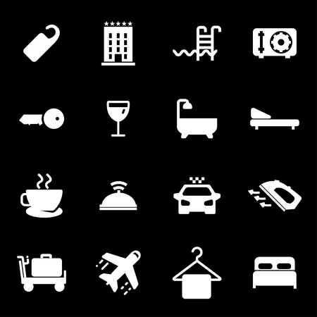 Vector white hotel icons set Illustration