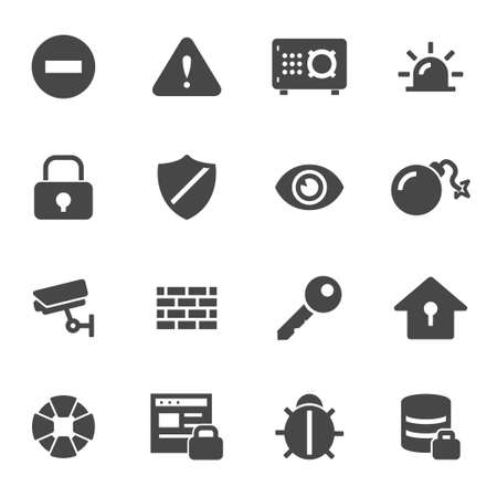 safe lock: Vector black security icons set on white background