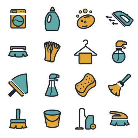 washing windows: Vector flat cleaning icons set on white background