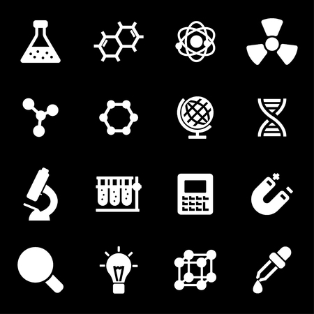 medical exam: Vector white science icons set on black background