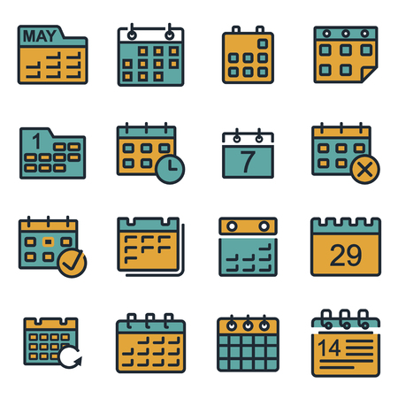 event calendar: Vector flat calendar icons set on white background Illustration