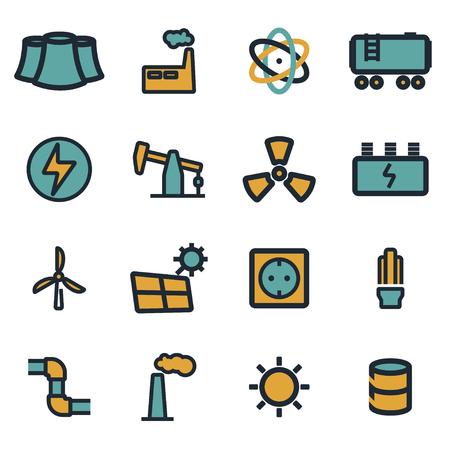 energetics: Vector flat energetics icons set on white background