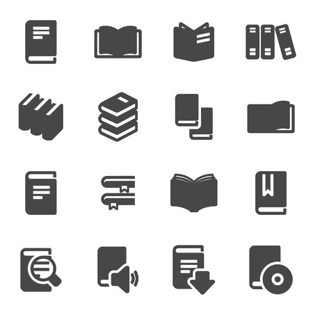 text books: Vector black book icons set on white background
