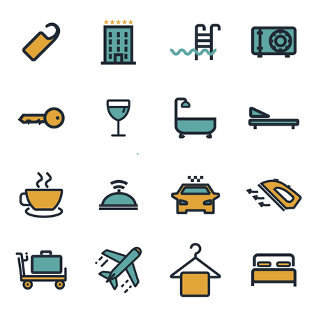 hotel rooms: Vector flat hotel icons set on white background.