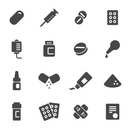 pharmacy pills: Vector black pills icons set on white background