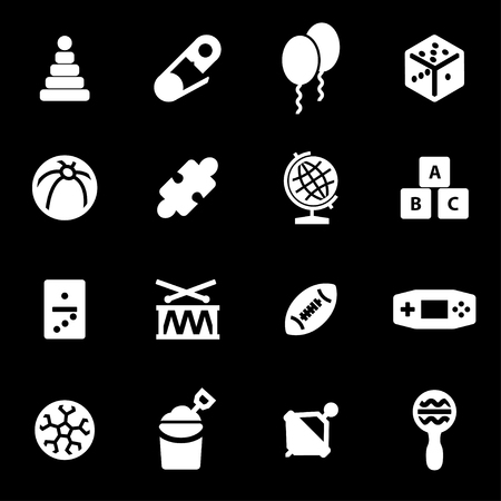 Vector white toys icons set on black background