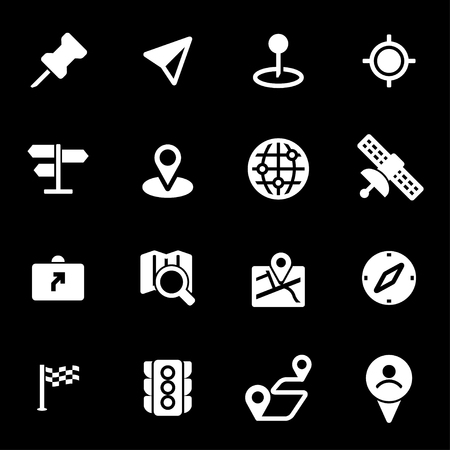 navigation icons: Vector white navigation icons set on black background Illustration
