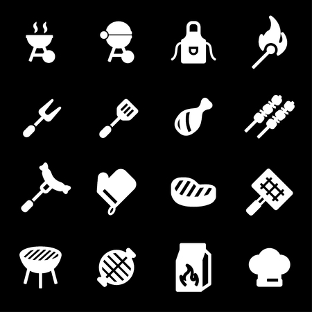 Vector white barbecue icons set on black background