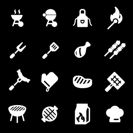 Vector iconos de barbacoa blanco conjunto sobre fondo negro Foto de archivo - 78229977